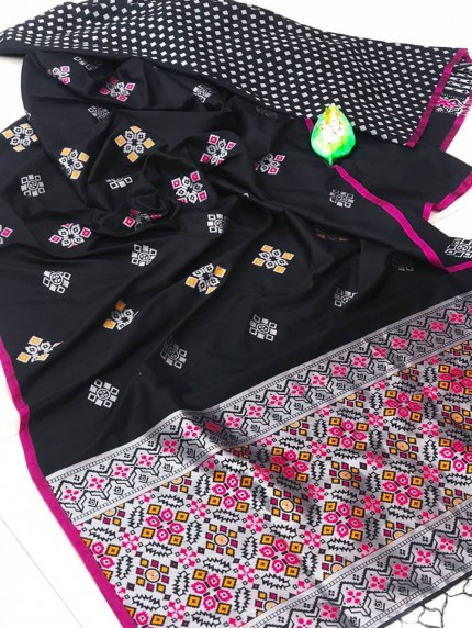 lichi silk with weaving silver zari work saree in Black by grabandpack