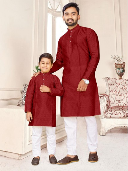 Maroon Father and Son Matching Readymade Kurta with Pajama - gnp0108740