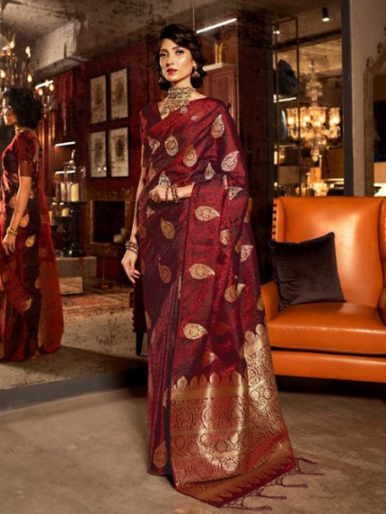 Maroon Weaving Soft Satin Silk Saree - gnp008863