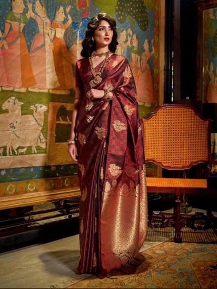 Maroon Weaving Soft Satin Silk Saree - gnp008869