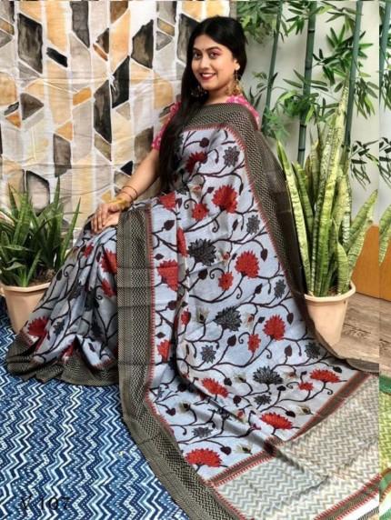 women's multi Big Flower Design Saree