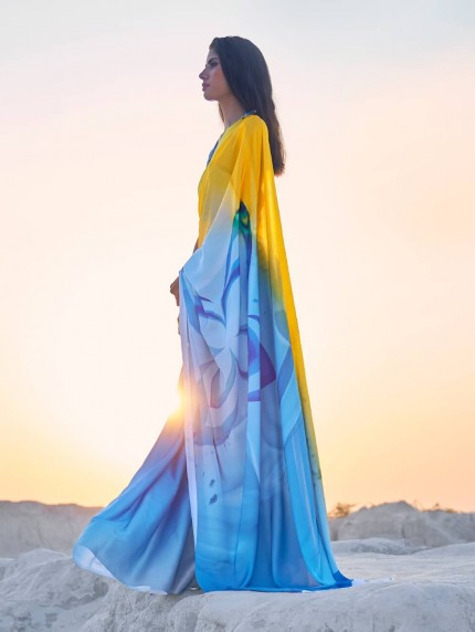 Multi Colored Beautiful Printed Satin Crepe Silk Saree - gnp009144
