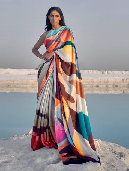 Multi Colored Beautiful Printed Satin Crepe Silk Saree - gnp009146