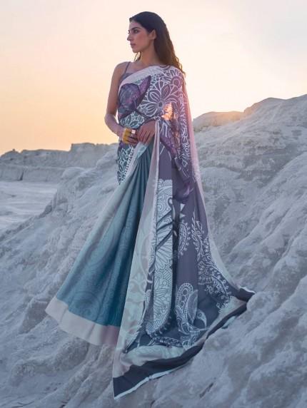 Multi Colored Beautiful Printed Satin Crepe Silk Saree - gnp009147