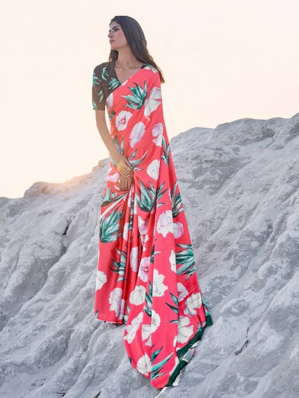 Multi Colored Beautiful Printed Satin Crepe Silk Saree - gnp009148