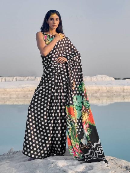 Multi Colored Beautiful Printed Satin Crepe Silk Saree - gnp009149