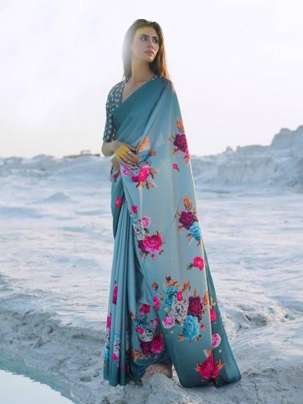 Multi Colored Beautiful Printed Satin Crepe Silk Saree - gnp009150
