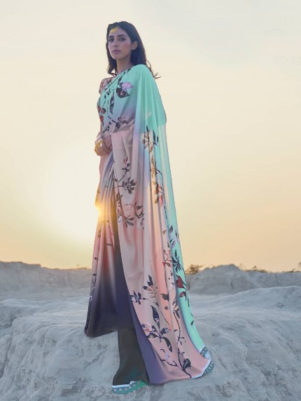 Multi Colored Beautiful Printed Satin Crepe Silk Saree - gnp009151