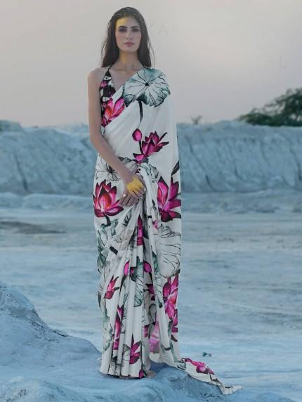 Multi Colored Beautiful Printed Satin Crepe Silk Saree - gnp009152