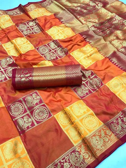 Multi Colored Beautiful Soft Banarasi Silk Fancy Saree Online