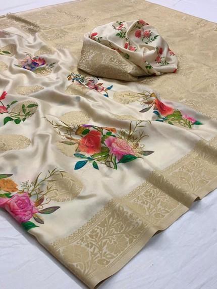 Multi Colored Digital Print Soft Silk Saree - gnp008298