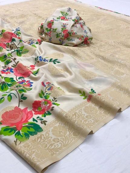 Multi Colored Digital Print Soft Silk Saree - gnp008299