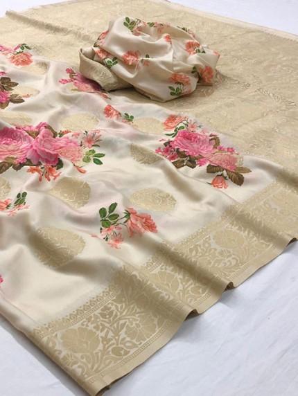 Multi Colored Digital Print Soft Silk Saree - gnp008300