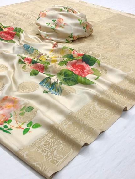 Multi Colored Digital Print Soft Silk Saree - gnp008301