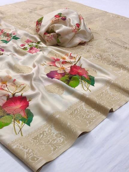 Multi Colored Digital Print Soft Silk Saree - gnp008302