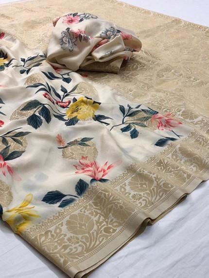 Multi Colored Digital Print Soft Silk Saree - gnp008304