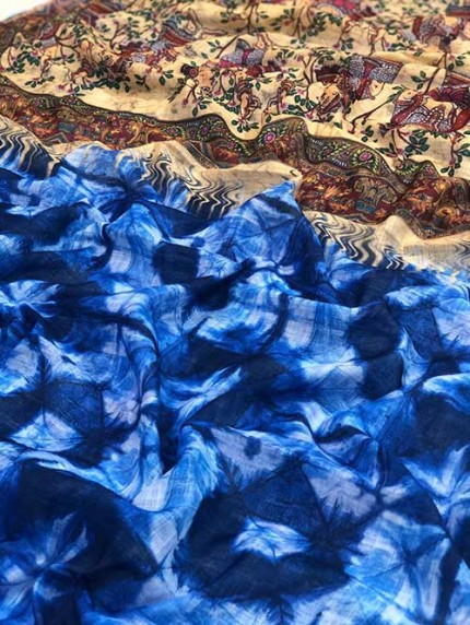Multi Colored Indigo Block Print Kalamkari Pallu Linen Saree - gnp008337