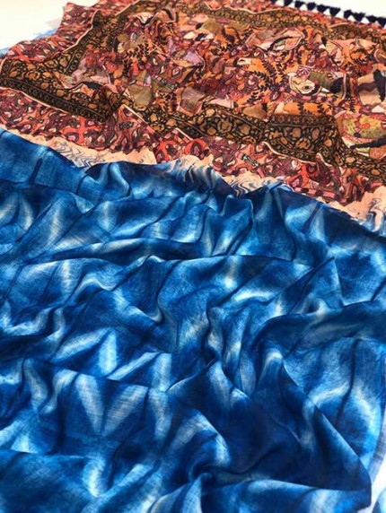 Multi Colored Indigo Block Print Kalamkari Pallu Linen Saree - gnp008339