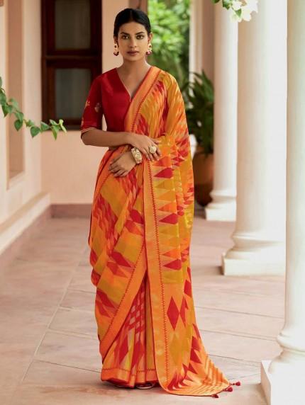 Multi Colored Weaving Brasso Silk Saree - gnp0108799