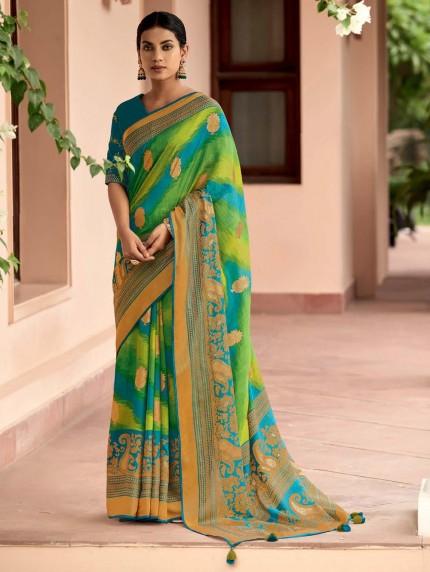 Multi Colored Weaving Brasso Silk Saree - gnp0108800