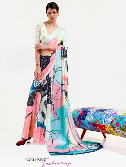 Multi Japanese Silk Digital Printed Saree With Blouse - gnp0108677