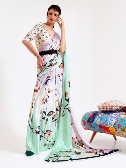 Multi Japanese Silk Digital Printed Saree With Blouse - gnp0108680