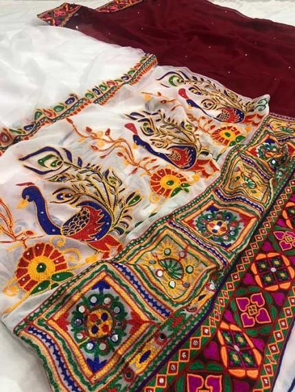 Navratri Special Katchi Embroidery Saree - gnp008228