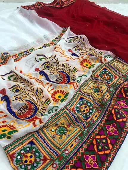 Navratri Special Katchi Embroidery Saree - gnp008229