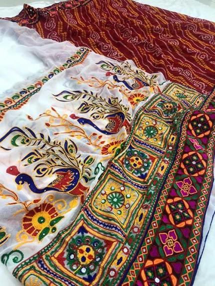 Navratri Special Katchi Embroidery Saree - gnp008230