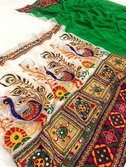 Navratri Special Katchi Embroidery Saree - gnp008231