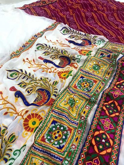 Navratri Special Katchi Embroidery Saree - gnp008232