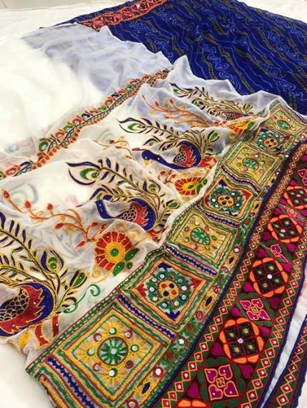 Navratri Special Katchi Embroidery Saree - gnp008233