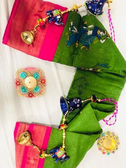 Navratri Special Printed Green Linen Cotton Silk Saree - gnp008134