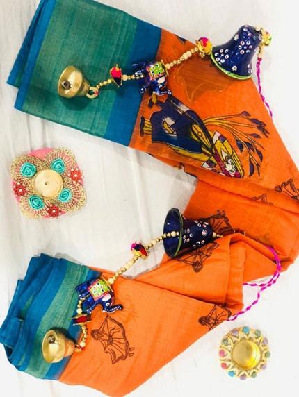 Navratri Special Printed Orange Linen Cotton Silk Saree - gnp008136