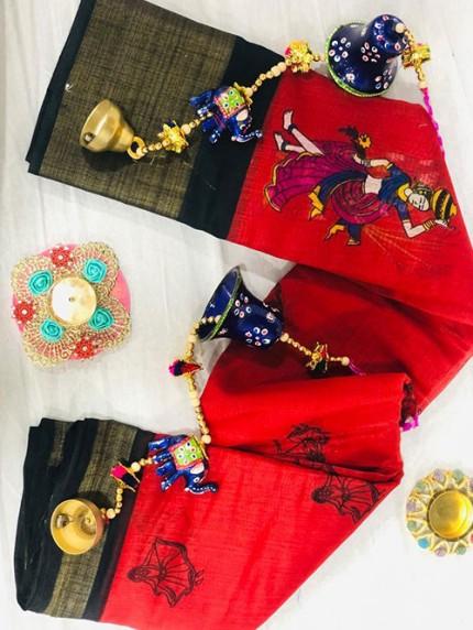 Navratri Special Printed Red Linen Cotton Silk Saree - gnp008138