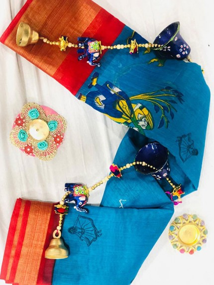 Navratri Special Printed Sky Linen Cotton Silk Saree - gnp008139