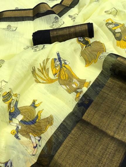 Navratri Special Printed Yellow Linen Cotton Silk Saree - gnp008140