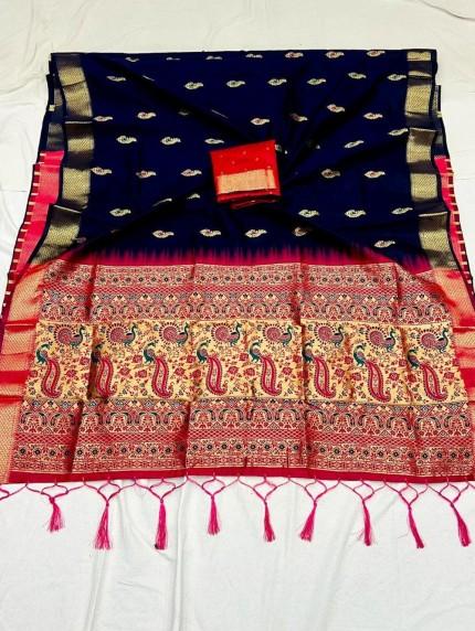 Navy Soft Silk Saree with Beautiful Reach Pallu and Jacquard Weaving - gnp0108837
