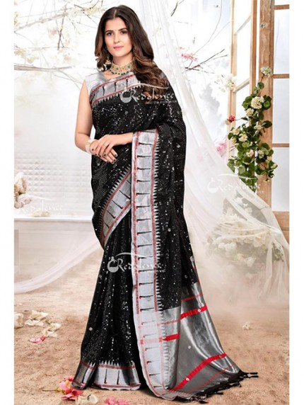 New Arrival Black Colored Paithani Silk Saree with Heavy Sequence - gnp0108200