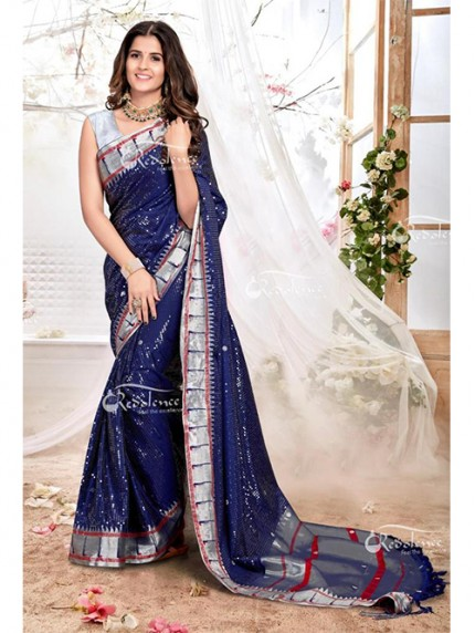 New Arrival Blue Colored Paithani Silk Saree with Heavy Sequence - gnp0108201