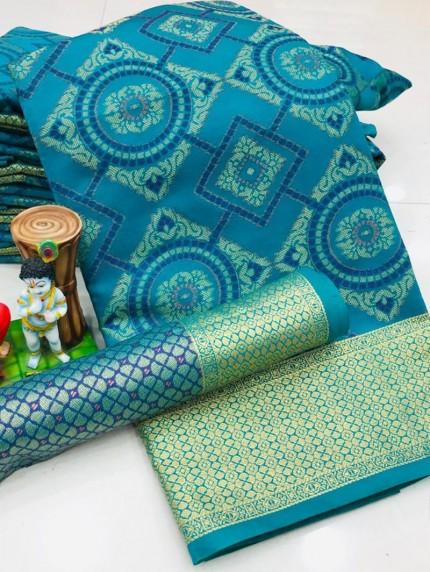 New Design Beautiful Blue Soft Banarasi Patola Saree
