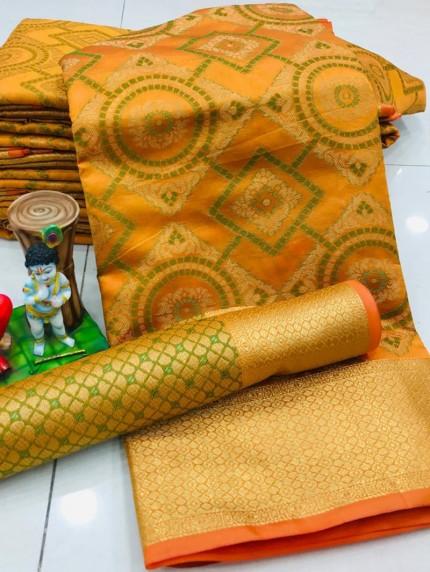 New Design Beautiful Mustard Soft Banarasi Patola Saree