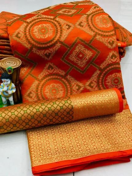 New Design Beautiful Orange Soft Banarasi Patola Saree