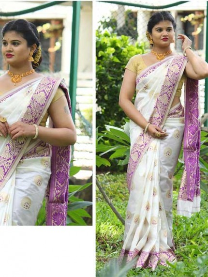 Onam Special Off White Colored Beautiful Soft Silk Traditional Saree Online