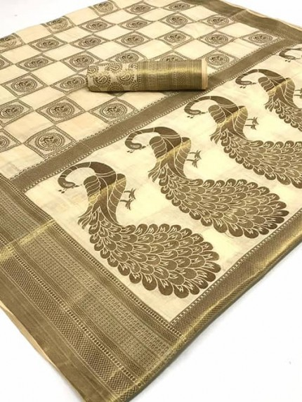 Off White Soft Cotton Mor Weaving Silk Saree - gnp008821