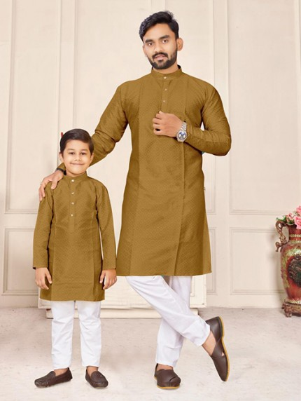 Olive Green Father and Son Matching Readymade Kurta with Pajama - gnp0108731