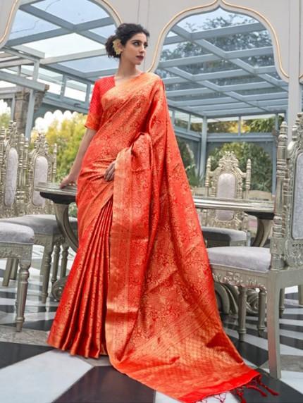 Orange Colored Banarasi Silk Online Saree Shopping - gnp0108031