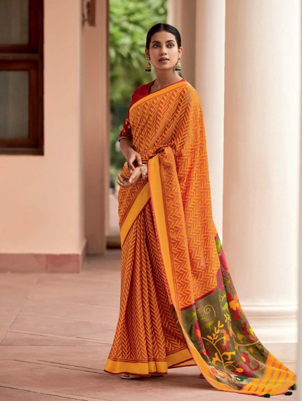 Orange Colored Weaving Brasso Silk Saree - gnp0108797