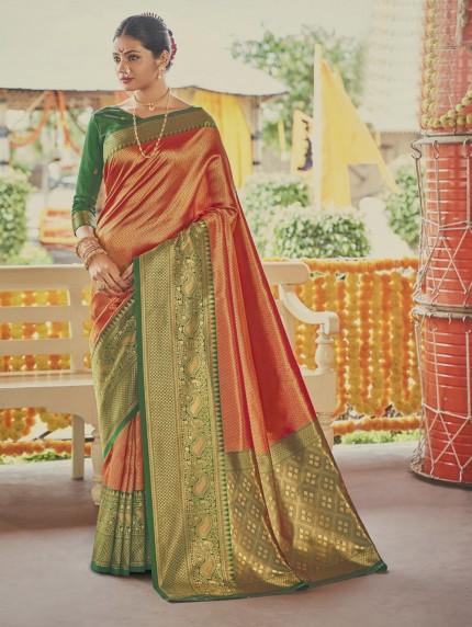 Orange Colored Weaving Silk Sarees - gnp0108906