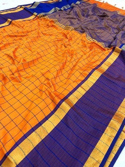 Orange Pure Upada Silk With Gold Kasab Zari Yarn Saree - gnp008347